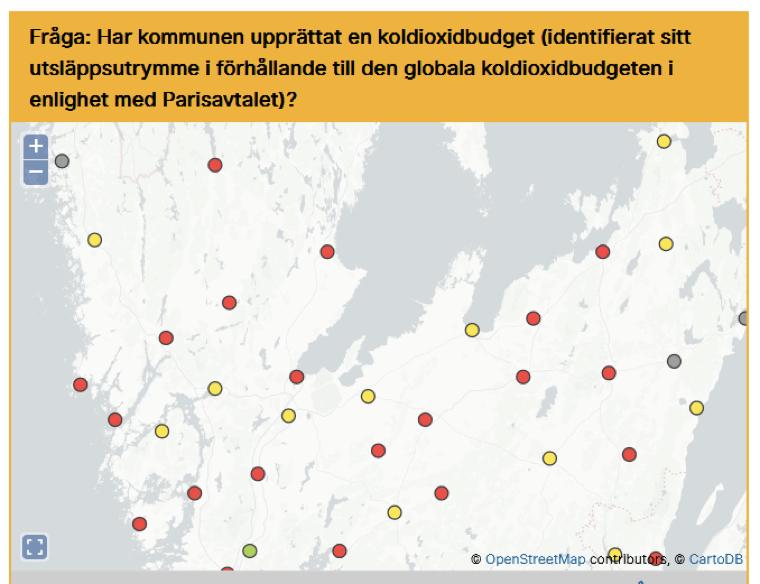 Karta över kommuner som upprättat en koldioxidbudget
